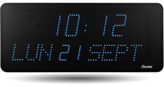 Bodet time horloge led heures minutes date pour grand for Horloge lumineuse